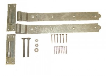 Pair - 400mm (Folded) Hook & Band Hinges inc Bolts and Screws